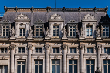 Architectural fragments of a Hotel-de-Ville Neo-Renaissance building (City Hall). The City of Paris's administration has been located on the same location since 1357. France.