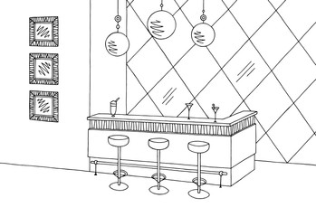 Cafe bar graphic black white interior sketch illustration vector
