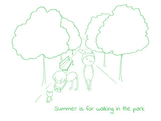 Hand drawn vector illustration of funny cartoon creatures in jump suits and hats, text Summer is for walking in the park