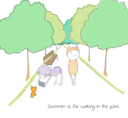 Hand drawn vector illustration of funny cartoon creatures in striped jump suits and hats, text Summer is for walking in the park
