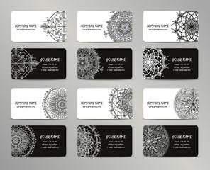 Vector vintage business cards big set. Oriental design Layout. Islam, Arabic, Indian, ottoman motifs.