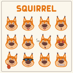 Emoticons set face of squirrel in cartoon style. Collection isolated funny muzzle squirrel with different emotion.