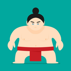 Sumo Wrestler in flat style vector isolated on color background
