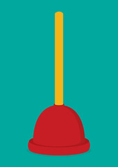 Red plunger icon flat vector