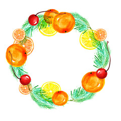 Spruce watercolor wreath. Vintage pattern of coniferous branches, red berries, cherry. On a white background. New Year's card, tag, card, invitation.