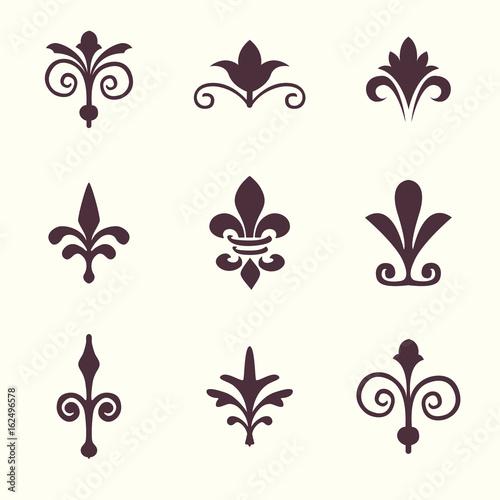 Heraldic Symbols Fleur De Lis Vector Set Stock Image And Royalty