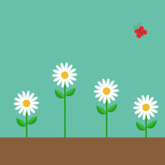 Red butterfly. White daisy chamomile set. Cute growing on ground flower plant. Love card. Camomile icon. Flat design. Green background. Isolated.