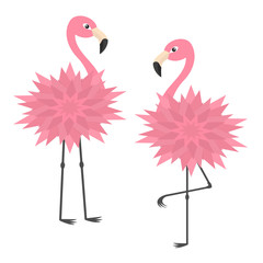 Two pink flamingo set. Flower body. Exotic tropical bird. Zoo animal collection. Cute cartoon character. Decoration element. Flat design. White background. Isolated.