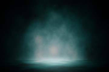 Blue spotlight smoke studio entertainment backdrop.