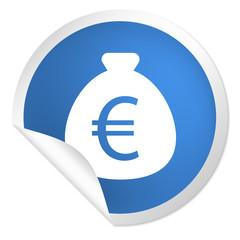 runder Sticker blau - Geldsack Euro