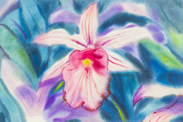 painting pink color of orchid flower and green leaves