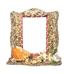 Photo frame with seashells (isolated)