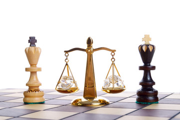 Balance of chess pieces isolated