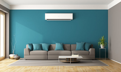 Obraz Modern living room with air conditioner - fototapety do salonu