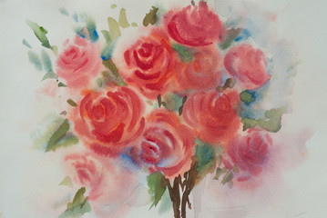 Beautiful blossom roses , watercolor painting impressionism style