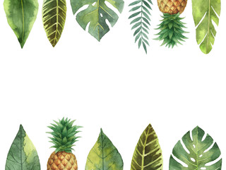 Watercolor banner tropical leaves and pineapple isolated on white background.