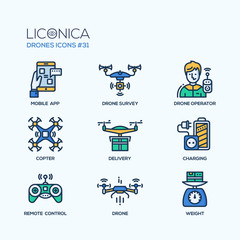 Drones - modern vector flat line design icons set.