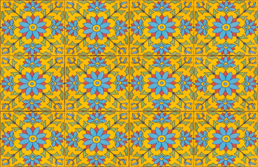 moroccan tile pattern background.Colorful vintage ceramic tiles wall decoration