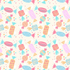 Seamless pattern of colorful candy treats over white