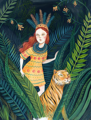 Redhead girl walking in the jungle with a tiger