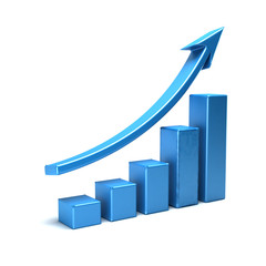 Business Growth Bar Graph Curve. 3D Render Illustration