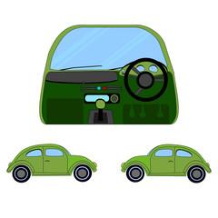 Green car exterior and interior