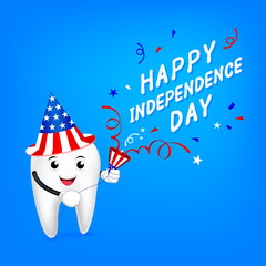 Cute cartoon tooth character with paper shoot. Happy USA Independence Day 4th of July.  Great for Dental care concept, illustration on blue background.