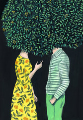 Woman and man talking under a tree