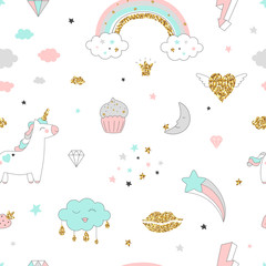 Magic design seamless pattern with unicorn, rainbow, hearts, clouds and others elements. With golden glitter texture. Vector illustration