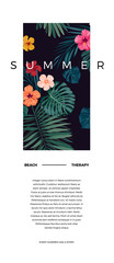 Tropical vector postcard design with bright hibiscus flowers and exotic palm leaves on dark background. Space for text.