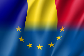 Symbol of Romania is EU member. European Union sign with twelve gold stars on blue and Romania national flag. Vector isolated icon