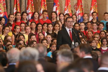 Serbia's President Aleksandar Vucic attends an inauguration ceremony in Belgrade