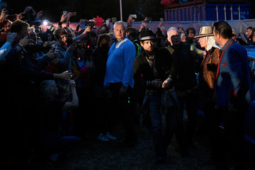 Actor Johnny Depp arrives at Worthy Farm in Somerset during the Glastonbury Festival