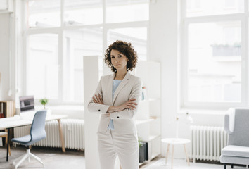 Businesswoman in office looking determined