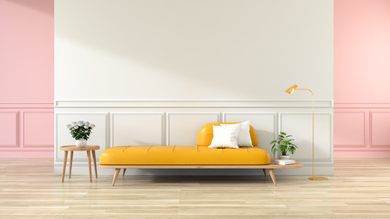 Minimalist interior of living room,yellow sofa on wood flooring and white wall . ,3d rendering