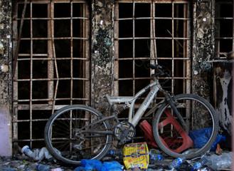 A bicycle is seen in the Old City of Mosul