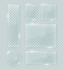 Transparent vector glass shapes. Abstract plastic banner design elements collection with transparency.