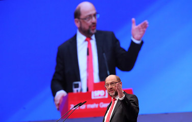 German Chancellor candidate Schulz of the SPD delivers his speech at the party convention in Dortmund