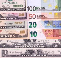 In de dag Kranten Money background american dollars and euro different denominations.