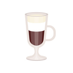 offee with cream foam in irish coffee mug vector Illustration
