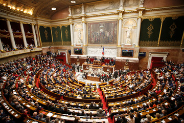 A general view shows the hemicycle of the French National Assembly during its opening session in Paris