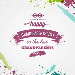 Happy Grandparents` Day watercolor typographic greeting card with splashes. Vector typographic illustration of Happy Grandparents Day retro label.  Lettering composition. Postcard design
