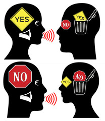 Stubborn Communication Barriers. Two people are not being able to accept each others opinion