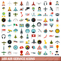 100 air service icons set, flat style