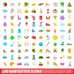 100 babysitter icons set, cartoon style