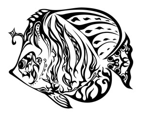 Fish in doodling style