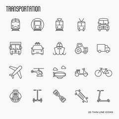 Transportation, logistics and travel thin line icons set. Vector illustration.