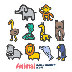 Animal Hand Drawn cartoon vector symbols and icon set, Design Elements. Vector Illustration.