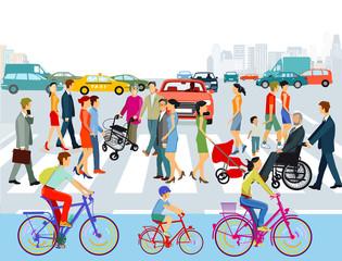 Personen auf dem Zebrastreifen in der Stadt. Illustration