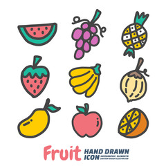 Fruit Hand Drawn cartoon vector symbols and icon set, Design Elements. Vector Illustration.